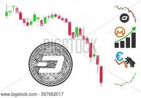 Vector Wire Frame Dashcoin Panic Fall Chart. Geometric Linear Carcass Flat Net Generated With Dashco