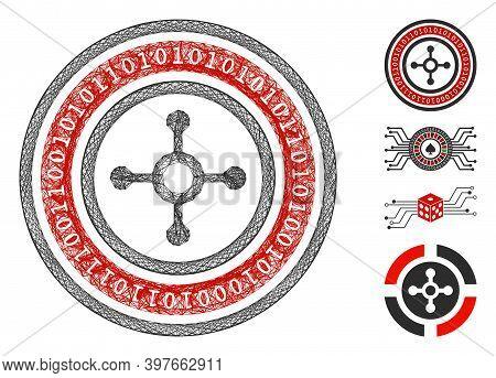 Vector Network Digital Roulette. Geometric Linear Frame 2d Network Made From Digital Roulette Icon,