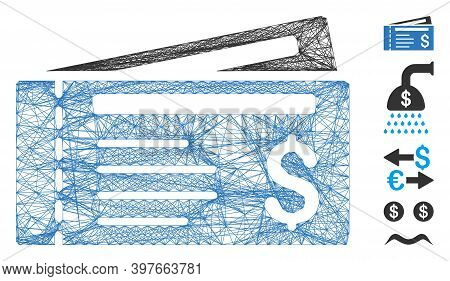 Vector Wire Frame Dollar Cheques. Geometric Wire Frame 2d Network Generated With Dollar Cheques Icon