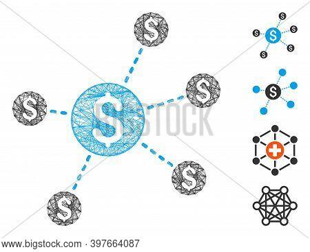 Vector Wire Frame Dollar Network Nodes. Geometric Wire Frame Flat Network Based On Dollar Network No