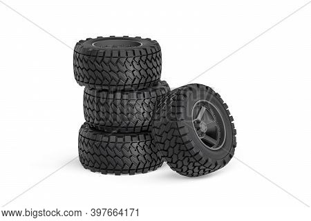 Set Of Four Wheels For Off-road Car - Rims With Tires For Off-road Car Isolated On White Background