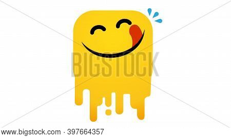 Yummy Face Happy Smile Vector Cartoon Line Emoticon With Tongue Lick Mouth. Delicious Tasty Food Eat