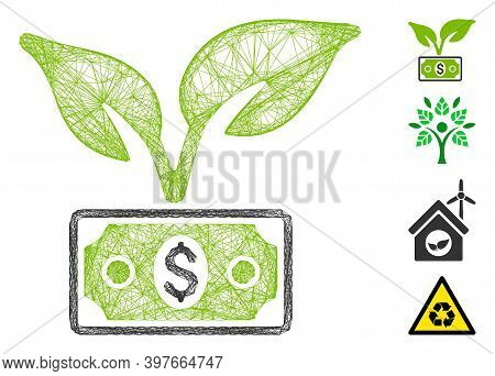 Vector Net Eco Startup Gain. Geometric Linear Frame 2d Net Generated With Eco Startup Gain Icon, Des