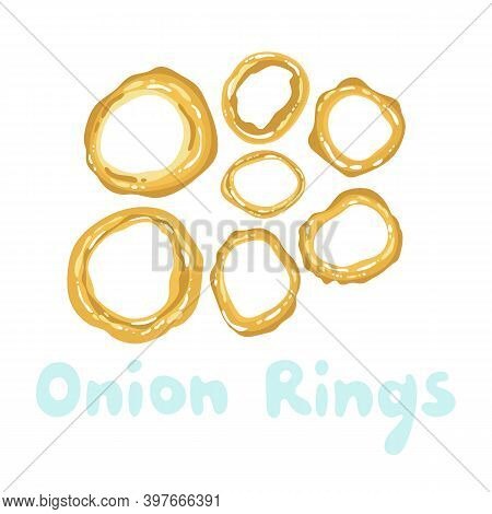 Onion Rings Icon Vector Clipart. Fried Onion Rings Cute Illustration. American Fast Food. Street Fri