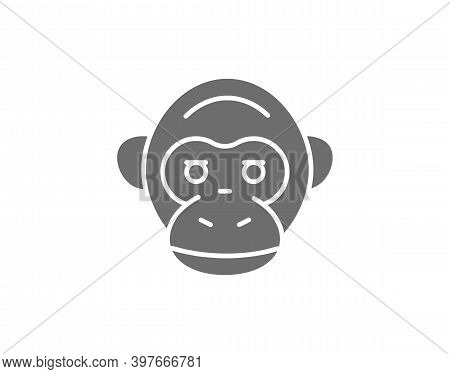 Vector Monkey, Chimpanzee, Gorilla Head Grey Icon.