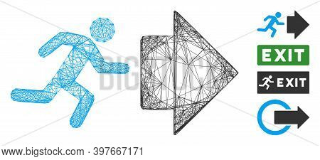 Vector Wire Frame Exit Direction. Geometric Wire Frame Flat Net Generated With Exit Direction Icon,