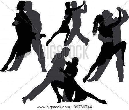 Couple dancing tango vector silhouette set