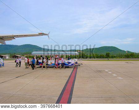 Ko Samui , Thailand - June 17, 2008: Runway Of Samui Island Domestic Airport In Sunny Day After Arri