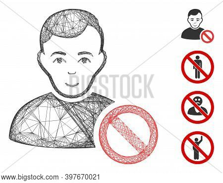 Vector Wire Frame Forbidden User. Geometric Hatched Frame 2d Net Made From Forbidden User Icon, Desi