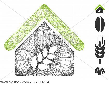 Vector Wire Frame Grain Warehouse. Geometric Wire Carcass Flat Network Generated With Grain Warehous