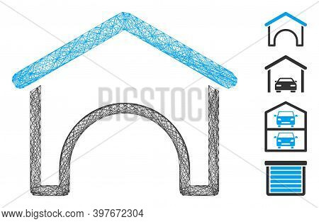 Vector Network Hangar. Geometric Hatched Frame Flat Network Made From Hangar Icon, Designed From Cro