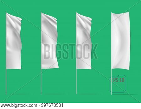 White Banner Flags. Realistic Mockups Of Banner Flags With Folds. Vector