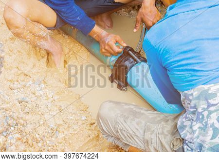 Plumber Repair Main Plumbing Pvc Pipe On Road