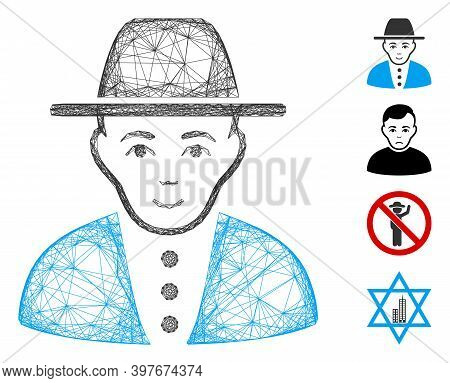 Vector Wire Frame Jew. Geometric Wire Frame 2d Network Generated With Jew Icon, Designed With Inters