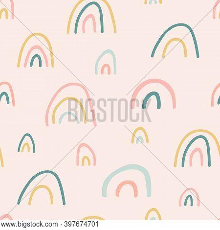 Unique Hand Drawn Rainbow Texture. Rainbow Seamless Pattern. Cute Kid Nursery Background In Pastel C
