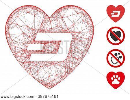 Vector Wire Frame Lovely Dash Heart. Geometric Wire Frame 2d Net Based On Lovely Dash Heart Icon, De