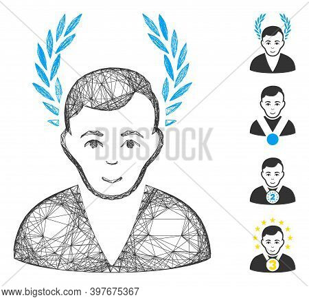 Vector Wire Frame Man Glory. Geometric Wire Frame Flat Network Generated With Man Glory Icon, Design