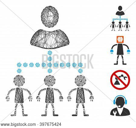 Vector Wire Frame Manage Androids. Geometric Wire Carcass 2d Network Made From Manage Androids Icon,