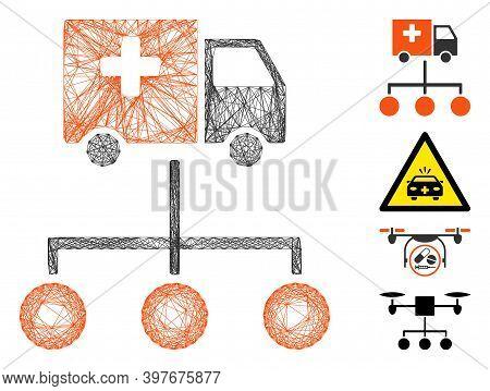 Vector Wire Frame Medical Delivery Links. Geometric Wire Frame Flat Network Based On Medical Deliver