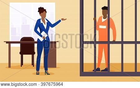 Lawyer And Prisoner In Court. Cartoon Suspect, Convicted Person In Cage. Advocate, Barrister Protect