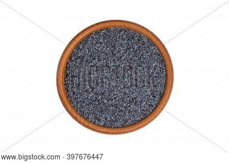 Poppy Seeds In Bowl Isolated On White Background