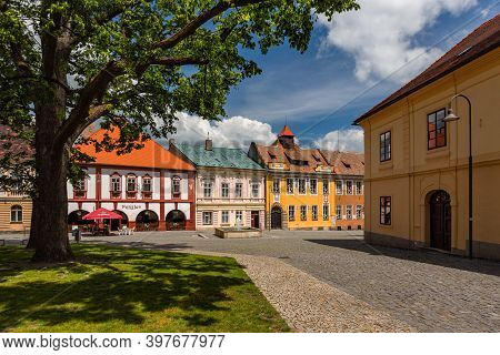 Opocno, Czech Republic - June 16 2020: View Of The Trckovo Square With Cobble Stone Street, Colorful