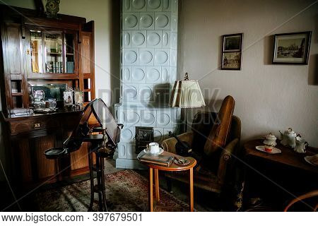 Radun Castle Interior, Neo-classical Chateau, Music Room, Music Stand And Violin, Carved Wooden Furn