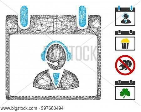 Vector Network Reception Operator Calendar Day. Geometric Wire Carcass 2d Network Made From Receptio