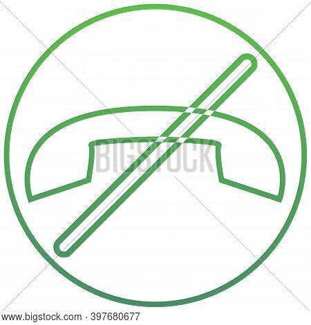 Outline Forbidden Handset Icon. Forbidden Handset Vector Illustration. Green Symbol For Web And Mobi