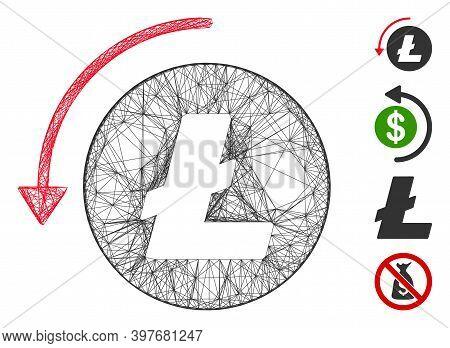 Vector Network Refund Litecoin. Geometric Hatched Carcass 2d Network Made From Refund Litecoin Icon,
