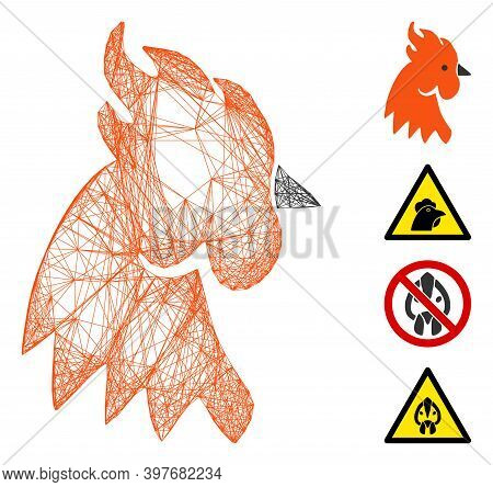 Vector Wire Frame Rooster Head. Geometric Wire Frame 2d Net Made From Rooster Head Icon, Designed Wi