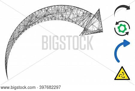 Vector Wire Frame Rotate Cw. Geometric Wire Frame 2d Network Made From Rotate Cw Icon, Designed From