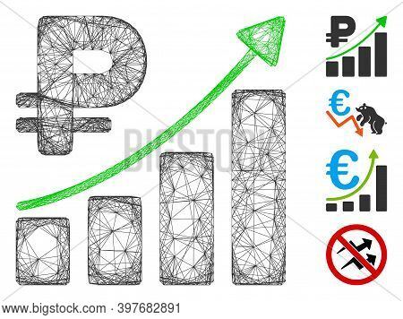 Vector Wire Frame Rouble Growth Trend. Geometric Wire Frame 2d Network Based On Rouble Growth Trend
