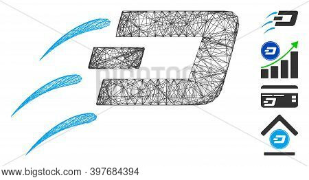Vector Wire Frame Send Dash. Geometric Wire Frame Flat Net Generated With Send Dash Icon, Designed W