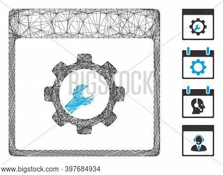 Vector Wire Frame Setup Tools Calendar Page. Geometric Wire Carcass Flat Network Generated With Setu