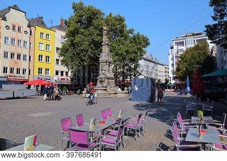 Cologne, Germany - September 22, 2020: People Visit Alter Markt Town Square In Cologne City, Germany