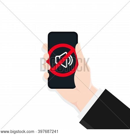 Silent Mode Of Smartphone. Speaker Icon. Dynamic Sign. Vector Eps 10. Isolated On White Background