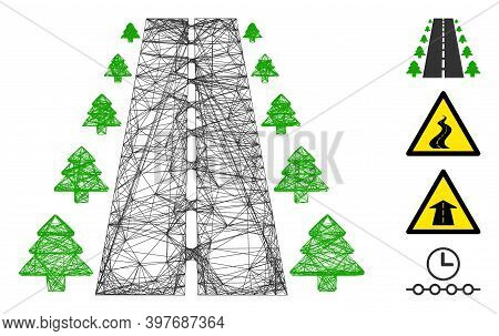 Vector Wire Frame Straight Road Alley. Geometric Wire Frame Flat Net Made From Straight Road Alley I