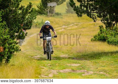 Parc Natural Del Alt Urgell, Lleida, Spain : 2019 July 26 : Cyclists In Andorra Bike Race 2019 In An