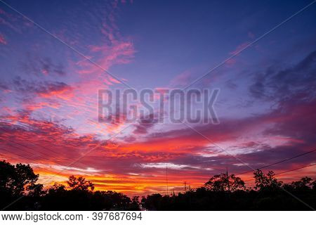 Pattern Of Colorful Cloud And Sky Sunset Or Sunrise: Dramatic Sunset In Twilight, Beautyful Of Sky,