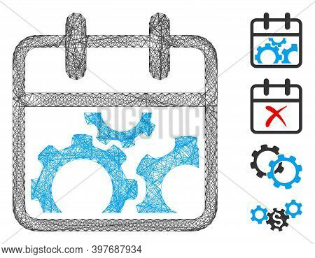 Vector Wire Frame Technical Day. Geometric Wire Frame Flat Net Generated With Technical Day Icon, De