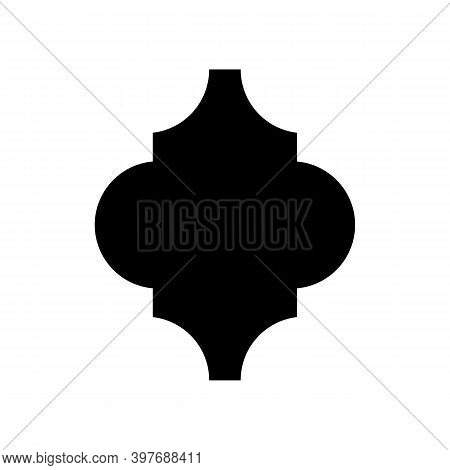 Vector Template Of Arabesque Tile, Lantern Isolated On White Background. Arabesque Tile Silhouette F
