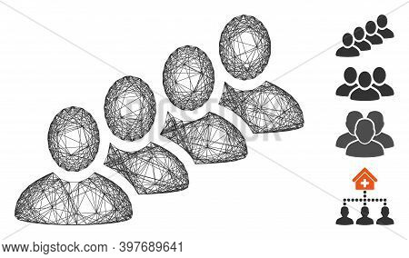 Vector Wire Frame User Queue. Geometric Wire Carcass Flat Network Made From User Queue Icon, Designe