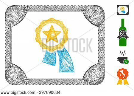 Vector Wire Frame Valid Diploma. Geometric Wire Frame 2d Network Based On Valid Diploma Icon, Design