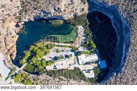 Athens Greece. Aerial Drone View Of Vouliagmeni Lake.
