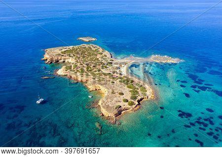 Aerial Drone View Of Ydrousa Or Katramonisi Island. Athens Greece