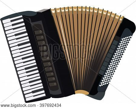 Accordion Musical Instrument With Musical Notes Accordion Musical Instrument With Musical Notes