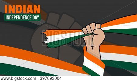 India Independence Day Background Design With Gripping Hands The Indian Flag. Good Template For Indi
