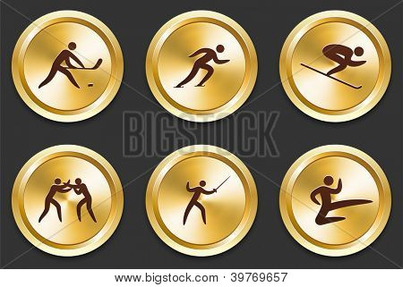 Sport Icons on Gold Button Collection Original Illustration