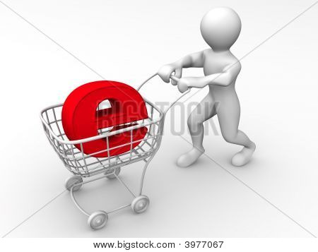 Man With Consumer Basket And Sign For Internet